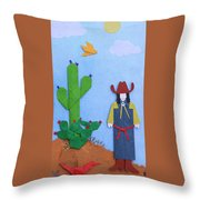 Desert Roadrunner By Mary Ellen Palmeri Throw Pillow
