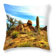 Desert Scene Near Sedona Arizona Painting Throw Pillow