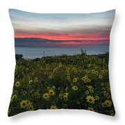 Desert Sunflowers Coastal Sunset Throw Pillow