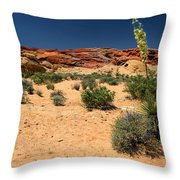 Desert Yucca In Bloom Valley Of Fire Throw Pillow