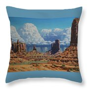 Rainstorm Over Monument Valley Throw Pillow