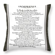 Desiderata Black Swirl Sans Throw Pillow