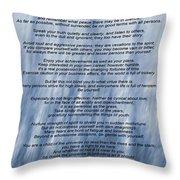 Desiderata - Blue Throw Pillow