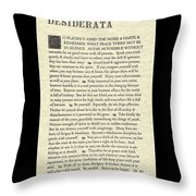 Desiderata Poem On Parchment Throw Pillow