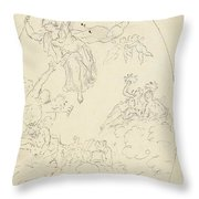 Design For A Ceiling Painting With A Triumph Of Minerva, In Oval, Dionys Van Nijmegen Possibly, 17 Throw Pillow