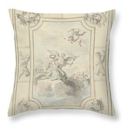 Design For A Ceiling Painting With Allegory Of Peace, Dionys Van Nijmegen, 1715 - 1798 Throw Pillow