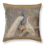 Design For A Dessus De Porte Branch With Peacock And Other Birds, August Allebe, 1874 Throw Pillow