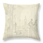 Design For A Garden View With A Peacock On A Fence, Dionys Van Nijmegen Possibly, 1715 - 1798 Throw Pillow