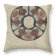 Design For A Memorial Plaque With W And A Coat Of Arms, Carel Adolph Lion Cachet, 1874 - 1945 Throw Pillow