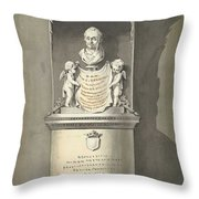 Design For A Monument To C. Brunings A Bust In A Niche, Bartholomeus Ziesenis, 1806 Throw Pillow