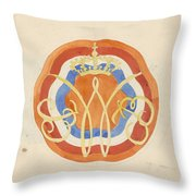 Design For A Plate With A Crowned W, Carel Adolph Lion Cachet, 1874 - 1945 Throw Pillow