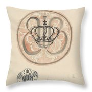 Design For A Plate With Crown And Monogram, Carel Adolph Lion Cachet, 1874 - 1945 Throw Pillow