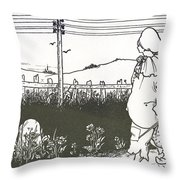 Design For End Paper Of Pierrot Throw Pillow