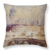 Design For The Thames Embankment, View Looking Downstream Throw Pillow
