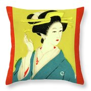 Designer Series Japanese Matchbox Label 128 Throw Pillow