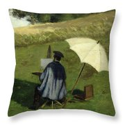 Desire Dubois Painting In The Open Air Throw Pillow by Henri Joseph Constant Dutilleux