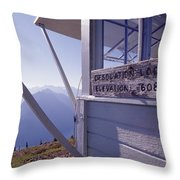 Desolation Peak Fire Lookout Cabin Sign Throw Pillow by David Pluth