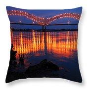 Desoto Bridge Refections Throw Pillow