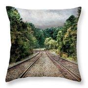 Destination Unknown, Travel Journey Train Tracks Throw Pillow