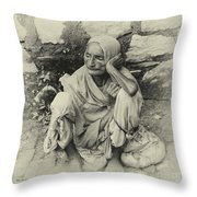 Destitute On The Ganges Throw Pillow