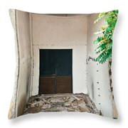 Destroyed Building Throw Pillow