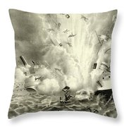 Destruction Of The Us Battleship Maine, 15th February, 1898 Throw Pillow