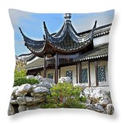 Detail Chinese Garden With Rocks. Throw Pillow