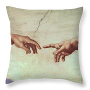 Detail From The Creation Of Adam Throw Pillow