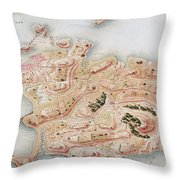 Detail Of A Map Of Rhode Island During French Occupation Throw Pillow