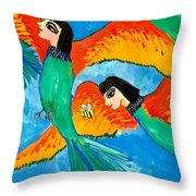Detail Of Bird People Little Green Bee Eaters Of Upper Egypt 2 Throw Pillow