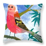 Detail Of Bird People The Chaffinch Family Father Throw Pillow