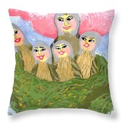 Detail Of Bird People The Chaffinch Family Nest Throw Pillow