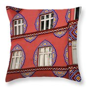 Detail Of Bright Facade Of The Cooperative Business Bank Buildin Throw Pillow