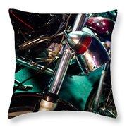 Detail Of Chrome Headlamp On Vintage Style Motorcycle Throw Pillow