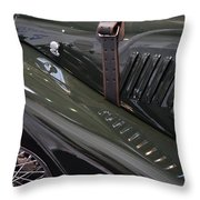 Detail Of Classical Green Vintage Car Hood. Throw Pillow