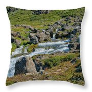 Detail Of  Dynjandi Waterfall Throw Pillow