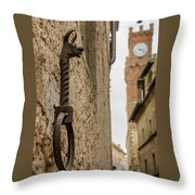 Detail Of Iron On A Wall Of Pienza, Tuscany, Italy Throw Pillow