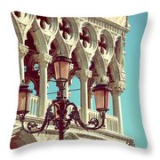 Detail Of Lamp And Columns In Venice. Vertically.  Throw Pillow