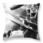 Detail Of Making Espresso Coffee With Machine Bw Throw Pillow