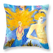 Detail Of Mer Mum And Comb The Family Throw Pillow