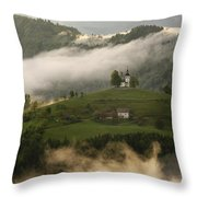 Detail Of Rolling Fog At Sunrise In The Skofjelosko Hribovje Hil Throw Pillow