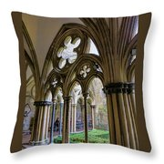 Detail Of Salisbury Cathedral Cloister  Throw Pillow