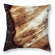 Detail Of Sawing Wood With Bark Throw Pillow