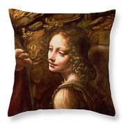 Detail Of The Angel From The Virgin Of The Rocks  Throw Pillow