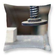 Detail Of The Chuck In The Carpentry Workshop - Shallow Depth Of Throw Pillow