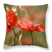 Detail Of The Corn Poppy Throw Pillow