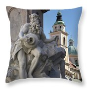 Detail Of The Robba Marble Scultpure On The Fountain Of The Thre Throw Pillow