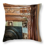 Detail Of Wood Carving And Tiles - Historic Fireplace Throw Pillow