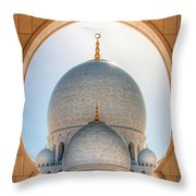 Detail View At Dome Of Sheikh Zayed Grand Mosque, Abu Dhabi, United Arab Emirates Throw Pillow