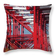 Detail View Of A Row Container Loading Cranes Throw Pillow
